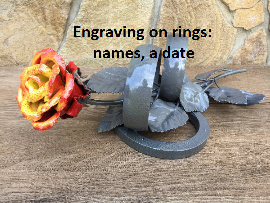 Hand Forged Red Iron Rose 6th Metal Anniversary Gift for Wife
