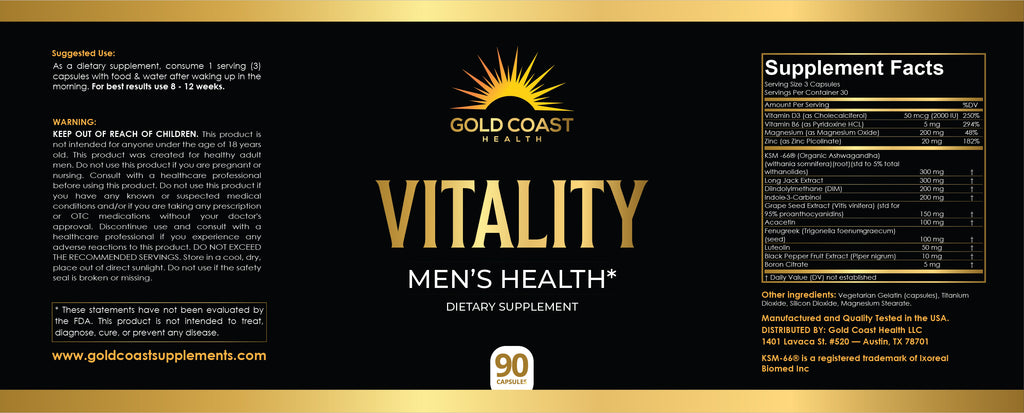 Vitality Supplement Label