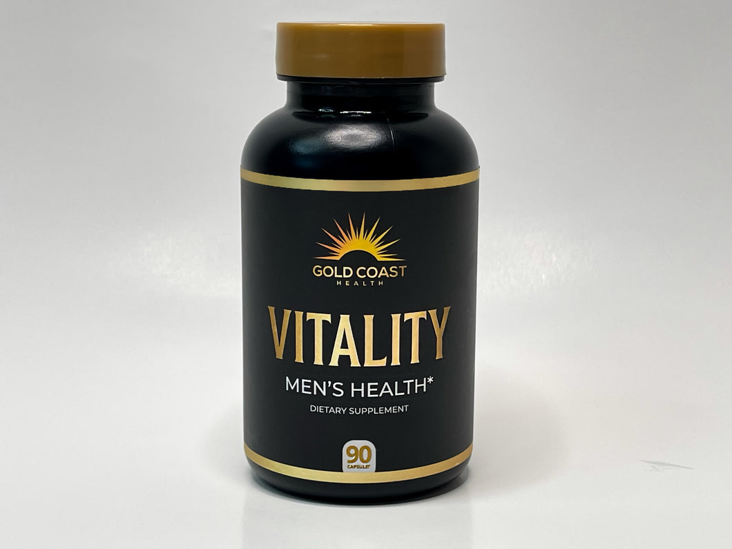 Vitality Testosterone Boosting & Estrogen Reducing Supplement (FRONT) - Gold Coast Health