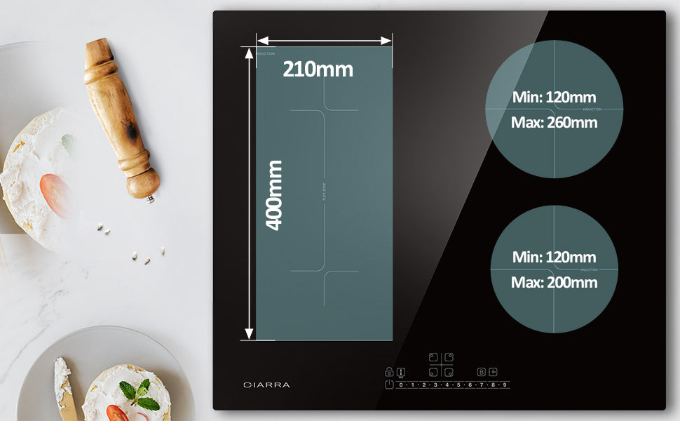 CIARRA 4 Zones Built-in Induction Hob with Boost and FlexZone CBBIH4BF-OW