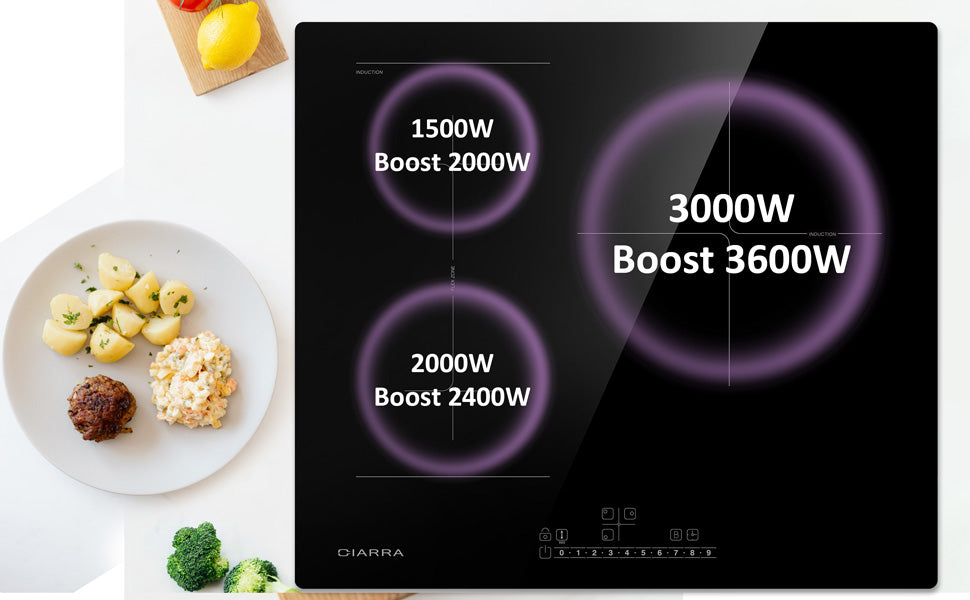 CIARRA Built-in Induction Hob with 3 Zones with Boost and FlexZone CBBIH3BF-OW