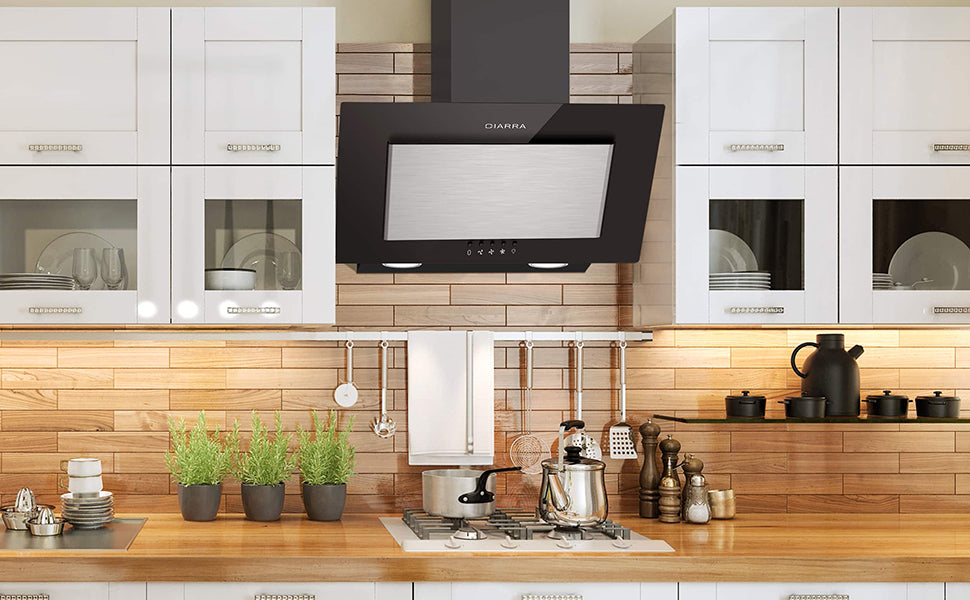 CIARRA 60cm Angled Wall Mounted Cooker Hood CBCB6736D-OW