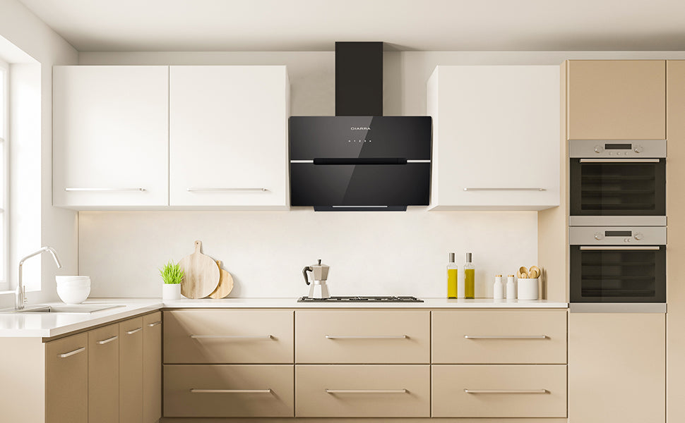 CIARRA 60cm Glass Angled Cooker Hood With Touch Control CBCB6736F-OW