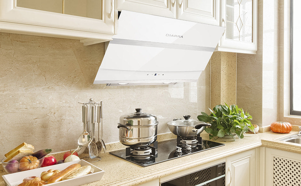 CIARRA Angled Cooker Hood 60cm Touch Control 602 m³/h CBCW6736N-OW