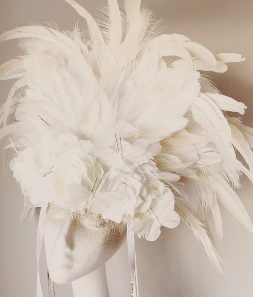 Anais Floral Feather Statement Headdress
