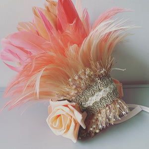 Flower Girl Feather Headdress / Coral & Peach