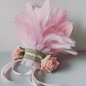 Flower Girl Feather Headdress / Baby Pink