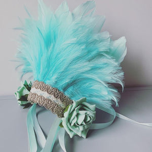 Flower Girl Feather Headdress / Turquoise