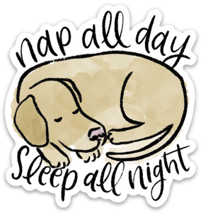 Nap All Day, Sleep All Night Dog Sticker, 3x3 in.