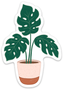 Potted Monstera Plant Sticker, 3.5x2 in.