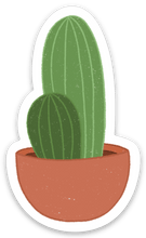Load image into Gallery viewer, Cacti with Terra Cotta Planter Sticker, 2.5x1 in.