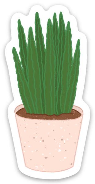 Aloe Planter Sticker, 2.5x1 in.
