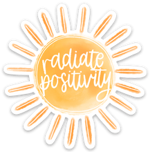 Load image into Gallery viewer, Radiate Positivity Watercolor Sun Sticker, 3x3 in.