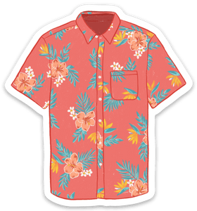 Hawaiian Shirt Sticker, 3x3 in.