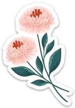 Load image into Gallery viewer, Pink Chrysanthemums Sticker, 3x2 in.
