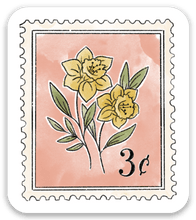Load image into Gallery viewer, Pink Floral Stamp Sticker, 2x1.5 in.