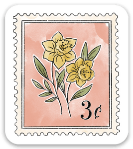 Pink Floral Stamp Sticker, 2x1.5 in.