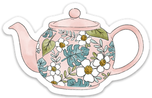Pink Tea Pot Sticker, 3.5x2.5 in.