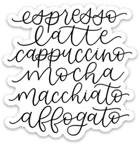 Load image into Gallery viewer, Espresso Drinks Sticker, 3x3 in.