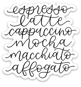 Espresso Drinks Sticker, 3x3 in.