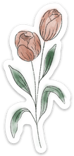 Load image into Gallery viewer, Pale Pink Watercolor Tulip Sticker, 4x2 in.