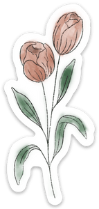 Pale Pink Watercolor Tulip Sticker, 4x2 in.