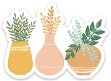 Load image into Gallery viewer, Three Terra Cotta Planters Sticker, 3x2 in.