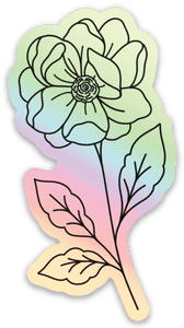 Holographic Anemone Sticker, 3x2 in.