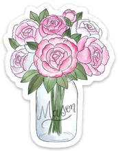 Load image into Gallery viewer, Mason Jar Peonies Watercolor Sticker, 3.5x3in.