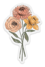 Load image into Gallery viewer, Clear Daffodil and Chrysanthemum Sticker, 3x2 in.