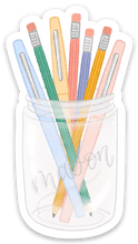 Load image into Gallery viewer, Pens and Pencils Mason Jar Sticker, 3x2 in.