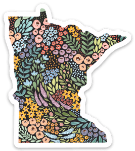 Minnesota Floral State Sticker, 3x3 in.