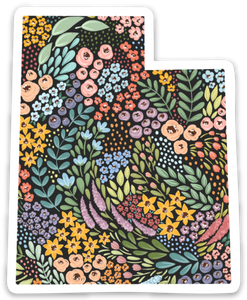 Utah Floral State Sticker, 3x3 in.