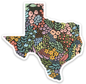 Texas Floral State Sticker, 3x3 in.
