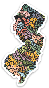 New Jersey Floral State Sticker, 3x2 in.