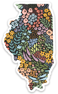 Illinois Floral State Sticker, 3x2 in.