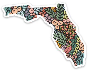 Florida Floral State Sticker 3x2 in.