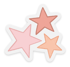 Clear Pink Stars Sticker, 2x2in.