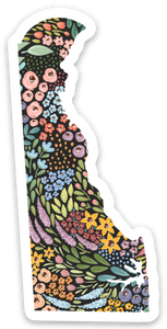 Delaware Floral State Sticker, 3x3 in.