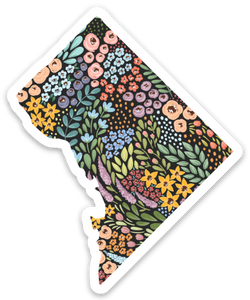 DC Floral State Sticker, 3x3 in.