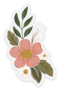 Clear Pink Camellia Sticker, 3x2 in.