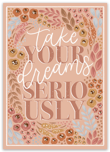 Take Your Dreams Seriously Sticker, 3.5x2.5in.