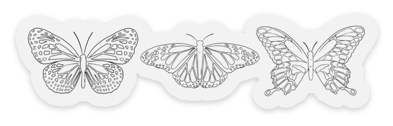 Clear Butterflies Series Sticker, 3.5x1in.