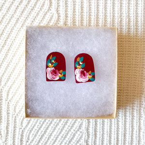 Hand Painted Polymer Clay Studs, 1 in.