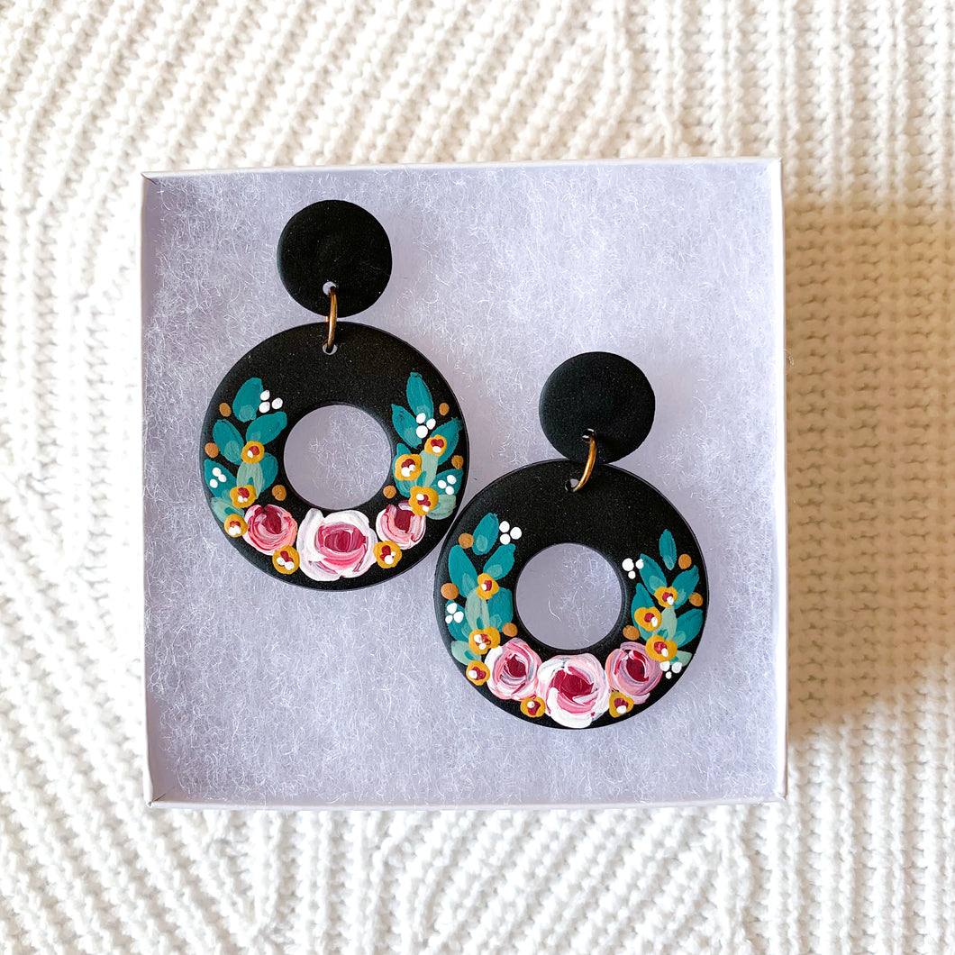 Hand Painted Polymer Clay Earrings, 2 in.