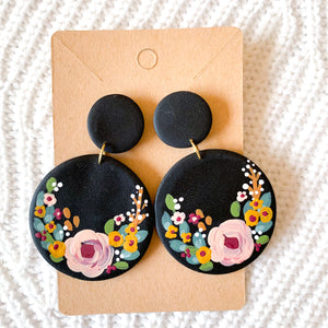 Hand Painted Polymer Clay Earrings, 2.5 in.