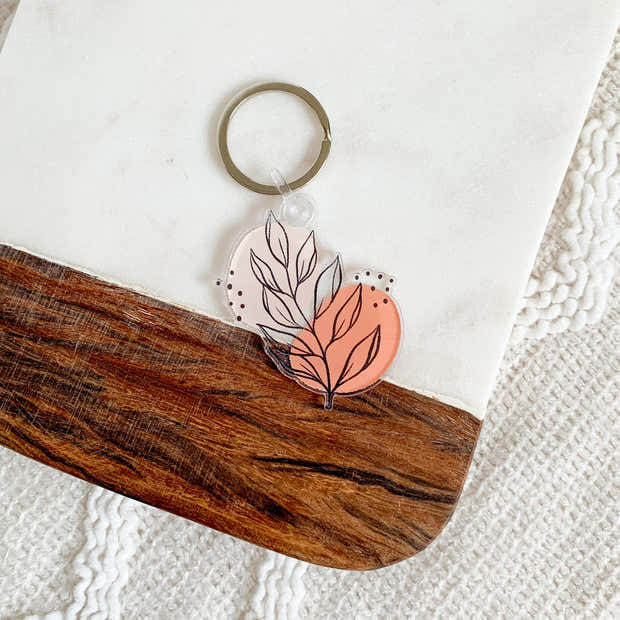 Pink Leaves Keychain 2.3x2.3in. 1