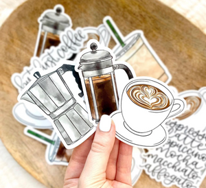 Watercolor Iced Coffee Sticker, 4x2 in.