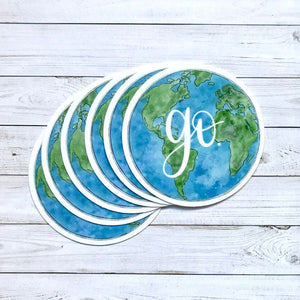 Go Globe Sticker, 3x3 in.