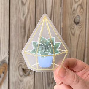 Succulent Glass Terrarium Sticker, 3x3 in.